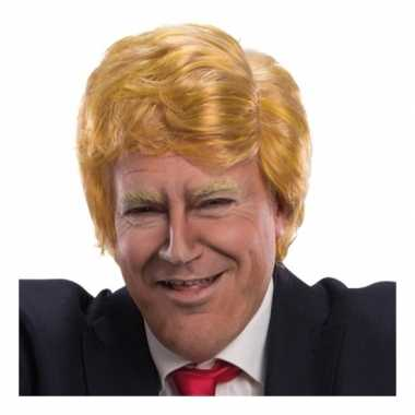 Synthetische blond oranje pruik donald trump carnaval