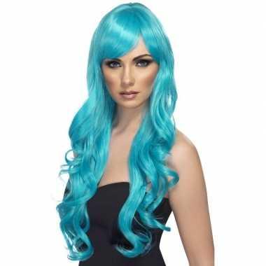 Turquoise blauwe pruik dames carnaval