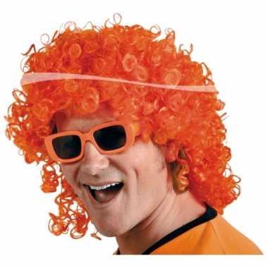 Verkleed pruik oranje carnaval