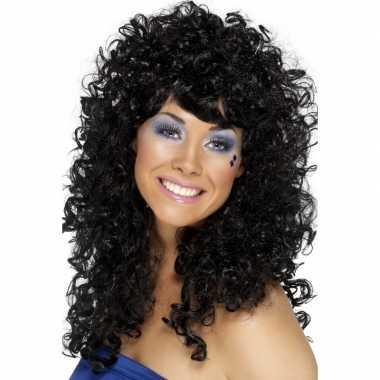 Wilde krullen disco pruik zwart carnaval