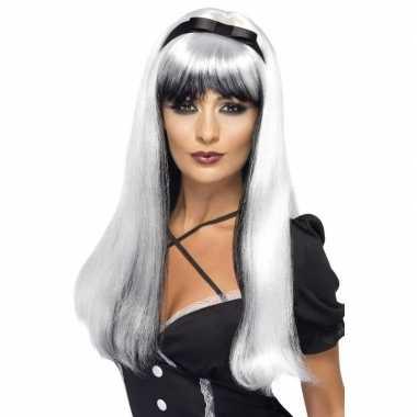 Wit/zwarte heksenpruik lint dames carnaval