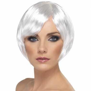 Witte damespruik kort model carnaval