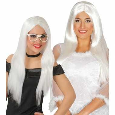 Witte engel pruik dames carnaval