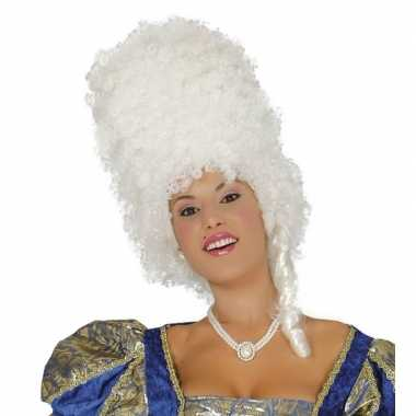 Witte hoge krullen pruik dames carnaval