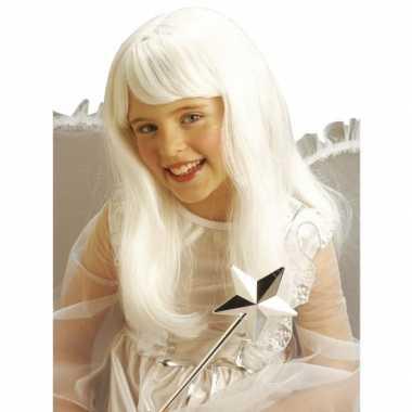 Witte lange pruiken kinderen carnaval