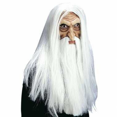 Witte tovenaar masker pruik, snor baard carnaval