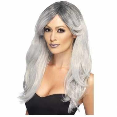 Zilver/grijze pruik dames carnaval
