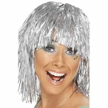 Zilveren damespruik glitters carnaval