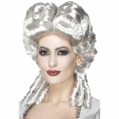Zilveren rococo middeleeuwse pruik dames carnaval