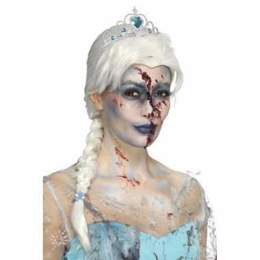 Zombie ijsprinsessen pruik vlecht carnaval