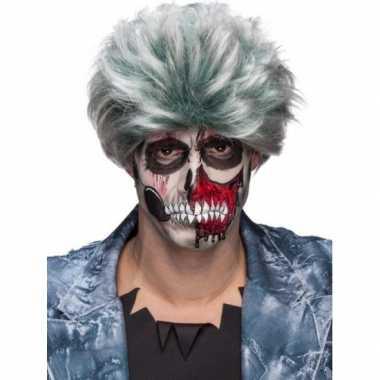 Zombiepruik gemeleerd grijs heren carnaval
