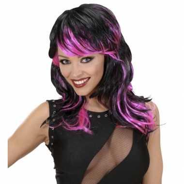 Zwart roze punk pruik carnaval