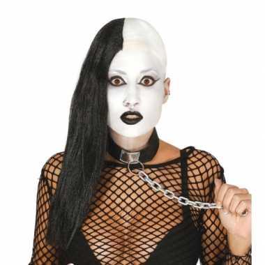 Zwarte gothic pruik helft afgeschoren carnaval