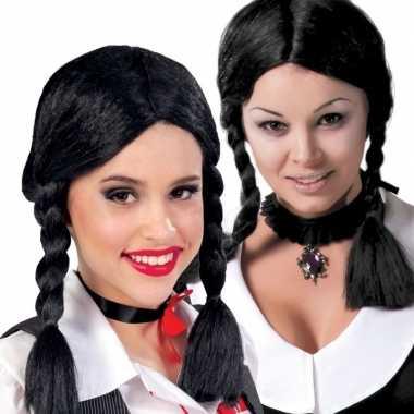 Zwarte horror pruiken dames carnaval