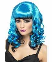Blauwe angel pruik carnaval