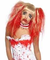 Blonde pruik bebloede staarten carnaval