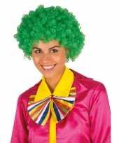 Clownspruik groene krulletjes verkleed accessoire carnaval