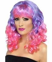 Dames diva pruik roze paars carnaval