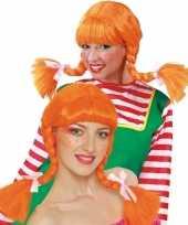 Dames pruik oranje vlechten carnaval