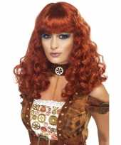 Dames pruik rood bruin carnaval