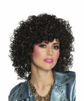 Disco pruik zwarte krullen dames carnaval