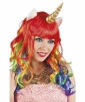 Eenhoorn regenboog pruik krullen carnaval