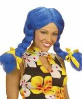 Fel gekleurde blauwe dolly pruik carnaval