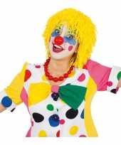 Gele clownspruik touwtjes carnaval