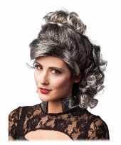 Grijs zwarte half lange haren pruik krullen carnaval