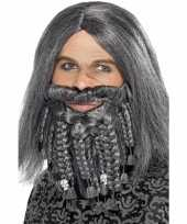 Grijze pruik baard heren carnaval