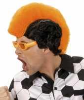 Hanenkam oranje zwarte pruik carnaval