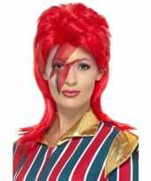 Jaren popster pruik rood david carnaval