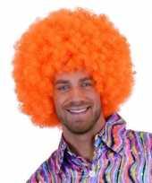 Knal oranje clowns pruiken carnaval