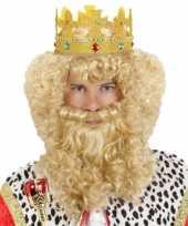 Krullende pruik snor baard carnaval