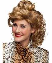 Krullenpruik blond halflang dames carnaval