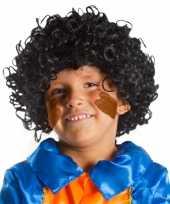 Krulletjes pruik zwart kids carnaval