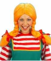Oranje vlechten pruiken dames carnaval