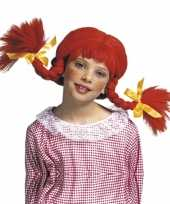 Rode kinderpruik vlechten carnaval