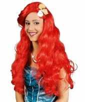 Rode zeemeerminnen dames pruik carnaval
