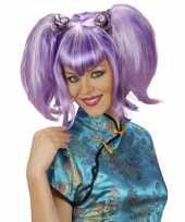 Staartjespruik paars dames carnaval