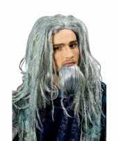 Viking pruik baard groene gloed carnaval