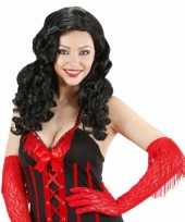 Zwarte krullen pruik dames carnaval